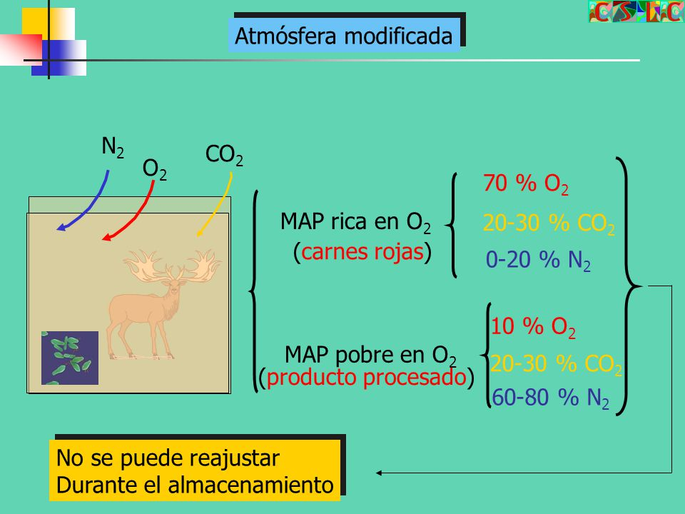 Atmósfera modificada N2. CO2. O2. 70 % O2. MAP rica en O2. 20-30 % CO2. (carnes rojas) 0-20 % N2.