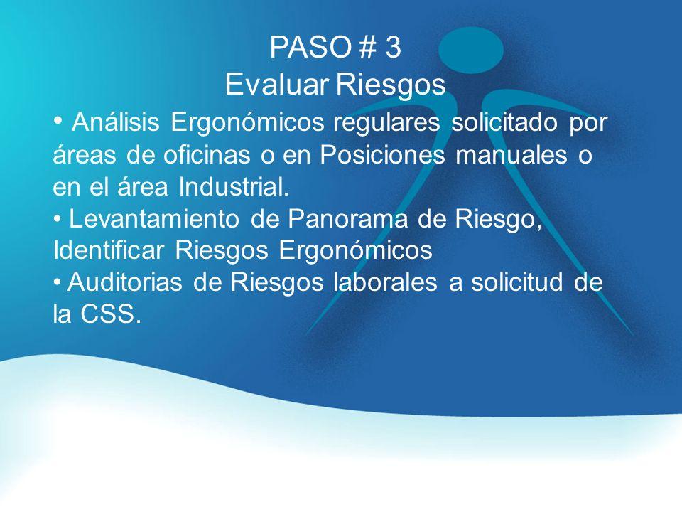 PASO # 3 Evaluar Riesgos. Análisis Ergonómicos regulares solicitado por áreas de oficinas o en Posiciones manuales o en el área Industrial.