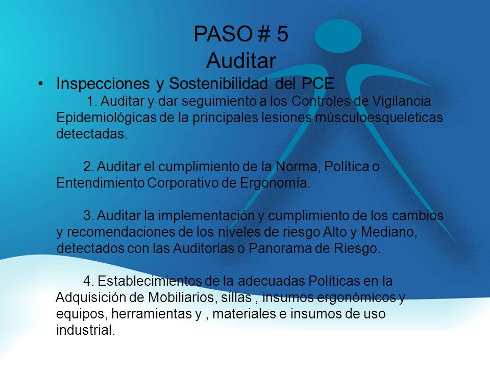 PASO # 5 Auditar Inspecciones y Sostenibilidad del PCE