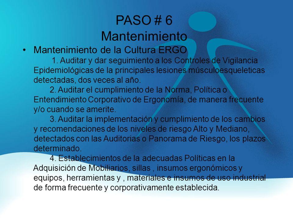 PASO # 6 Mantenimiento Mantenimiento de la Cultura ERGO