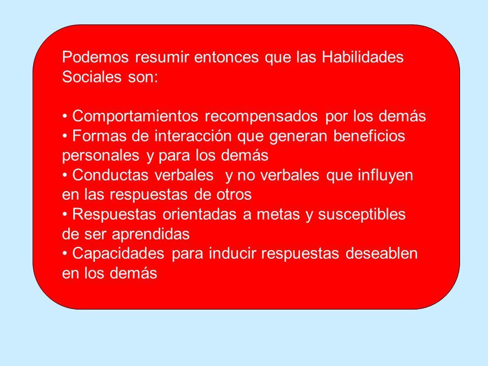 Podemos resumir entonces que las Habilidades Sociales son: