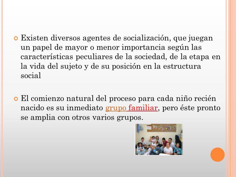 Existen diversos agentes de socialización, que juegan un papel de mayor o menor importancia según las características peculiares de la sociedad, de la etapa en la vida del sujeto y de su posición en la estructura social