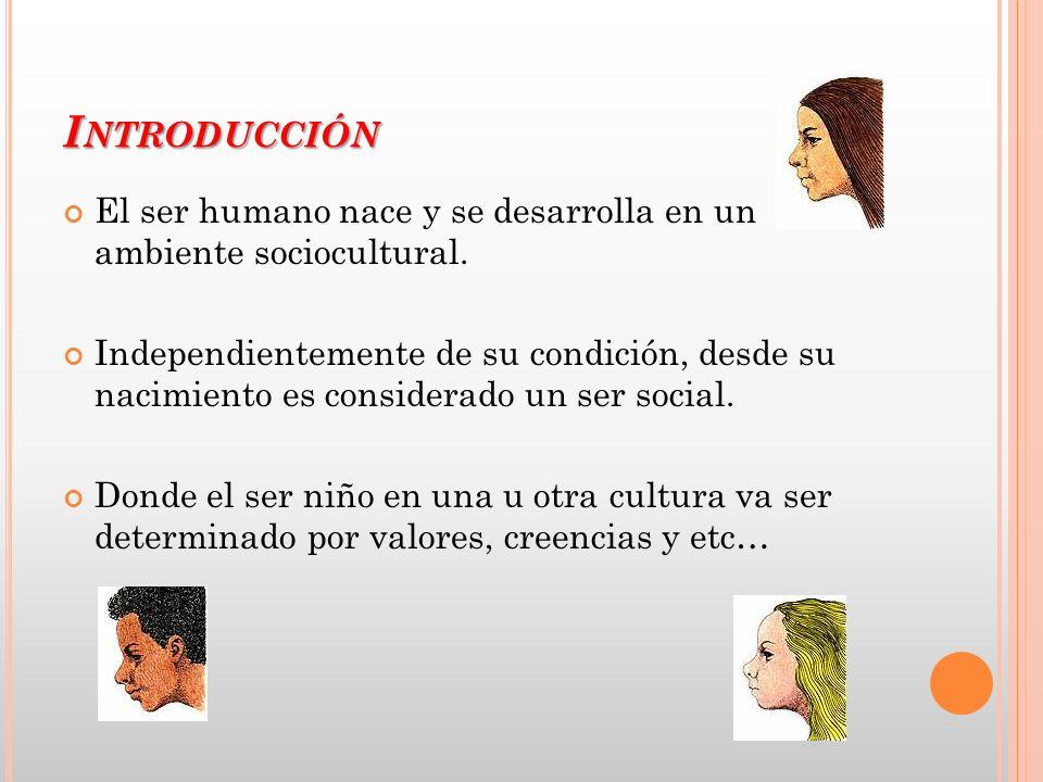 Introducción El ser humano nace y se desarrolla en un ambiente sociocultural.