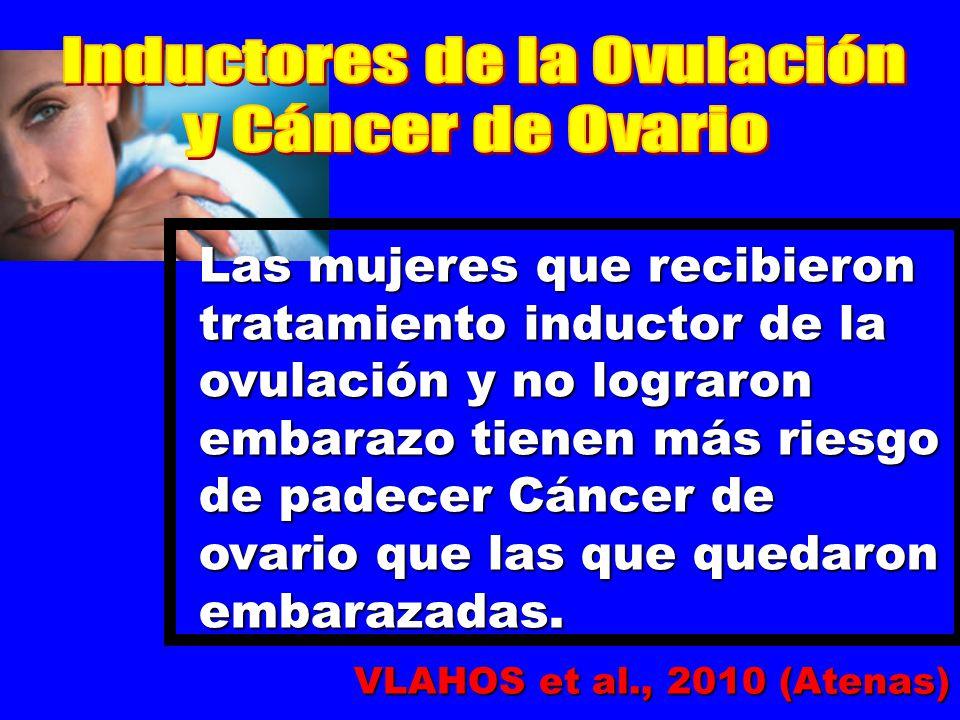 Las mujeres que recibieron tratamiento inductor de la ovulación y no lograron embarazo tienen más riesgo de padecer Cáncer de ovario que las que quedaron embarazadas.