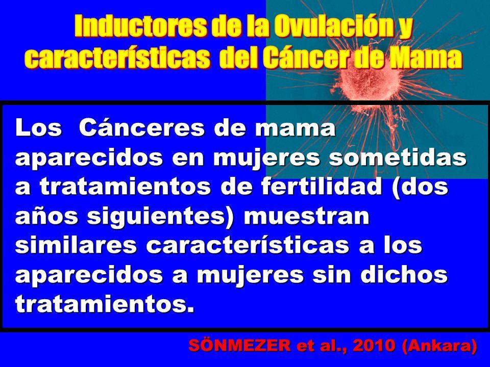 Los Cánceres de mama aparecidos en mujeres sometidas a tratamientos de fertilidad (dos años siguientes) muestran similares características a los aparecidos a mujeres sin dichos tratamientos.