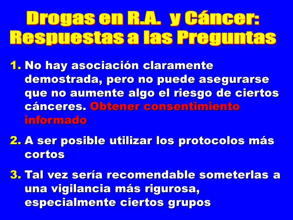 No hay asociación claramente demostrada, pero no puede asegurarse que no aumente algo el riesgo de ciertos cánceres. Obtener consentimiento informado