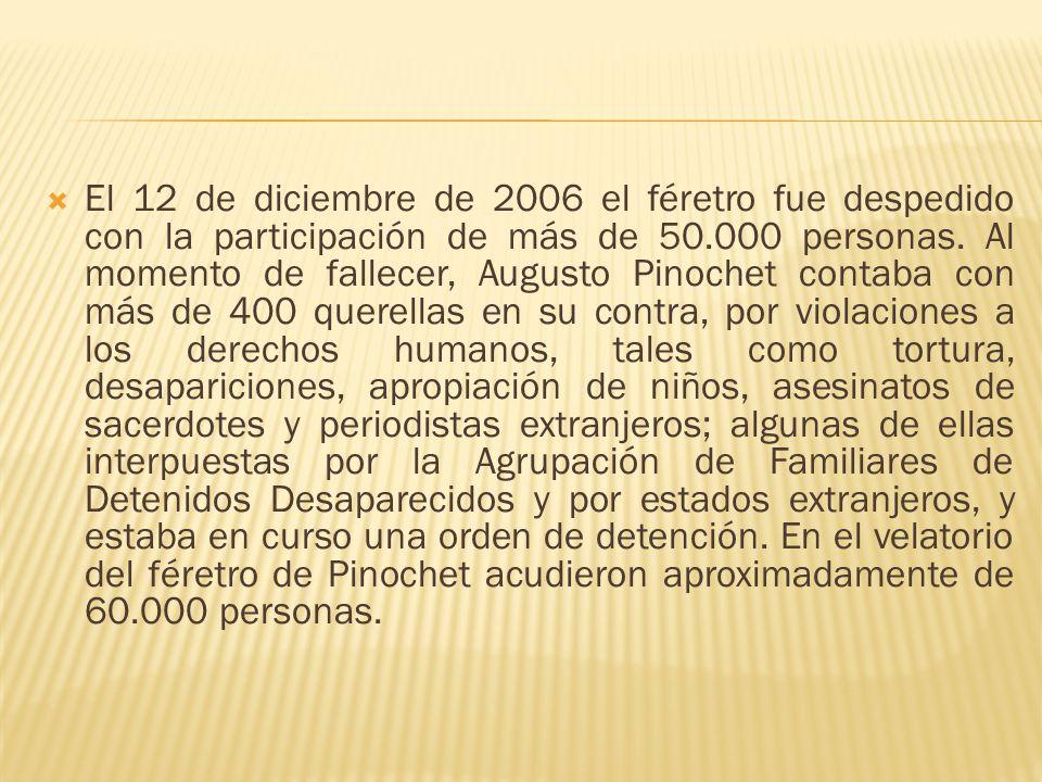 El 12 de diciembre de 2006 el féretro fue despedido con la participación de más de 50.000 personas.
