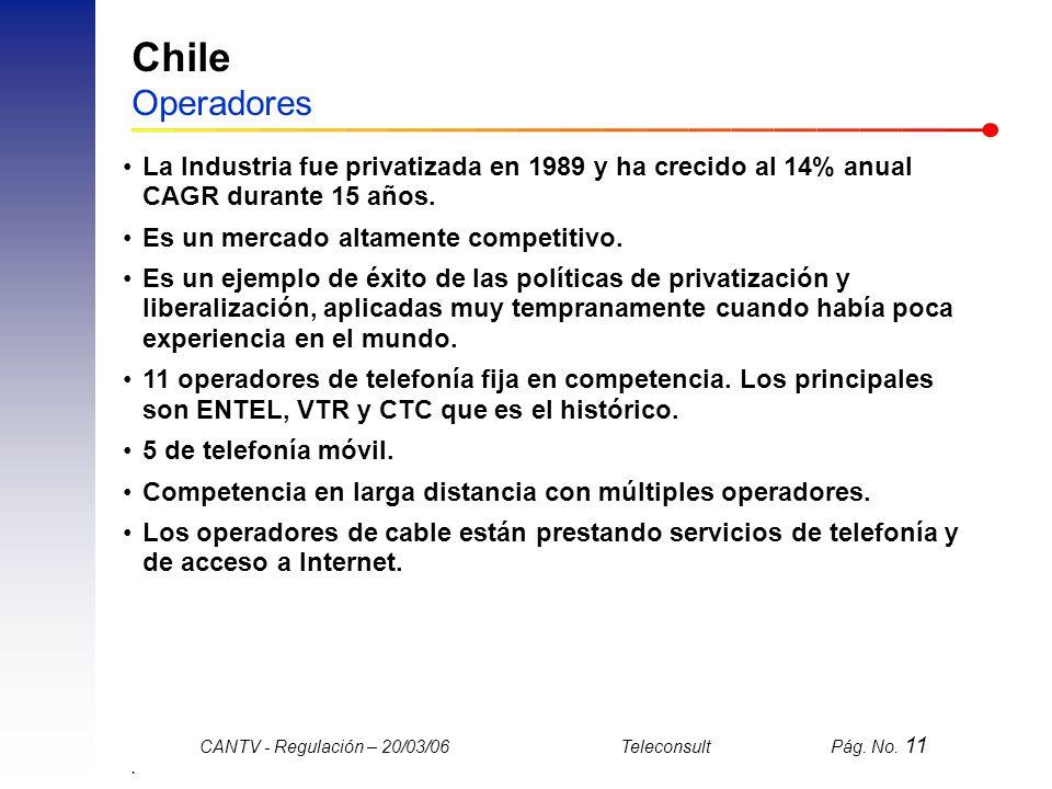 Chile Operadores La Industria fue privatizada en 1989 y ha crecido al 14% anual CAGR durante 15 años.