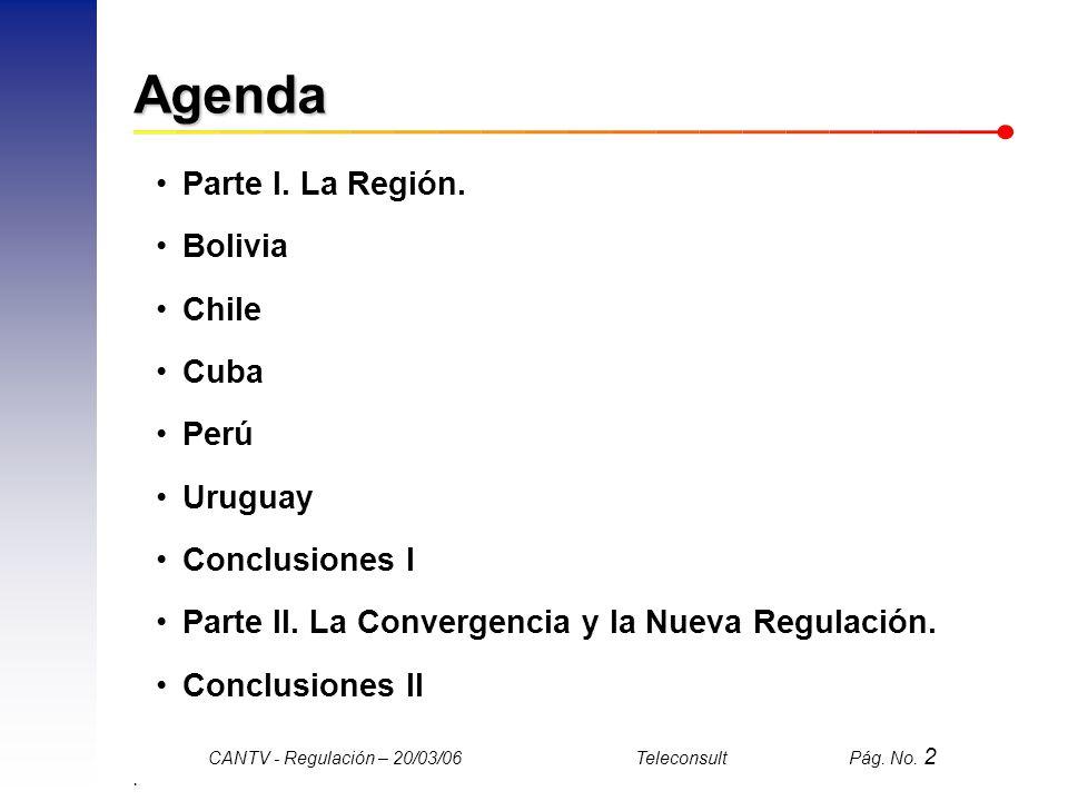 Agenda Parte I. La Región. Bolivia Chile Cuba Perú Uruguay
