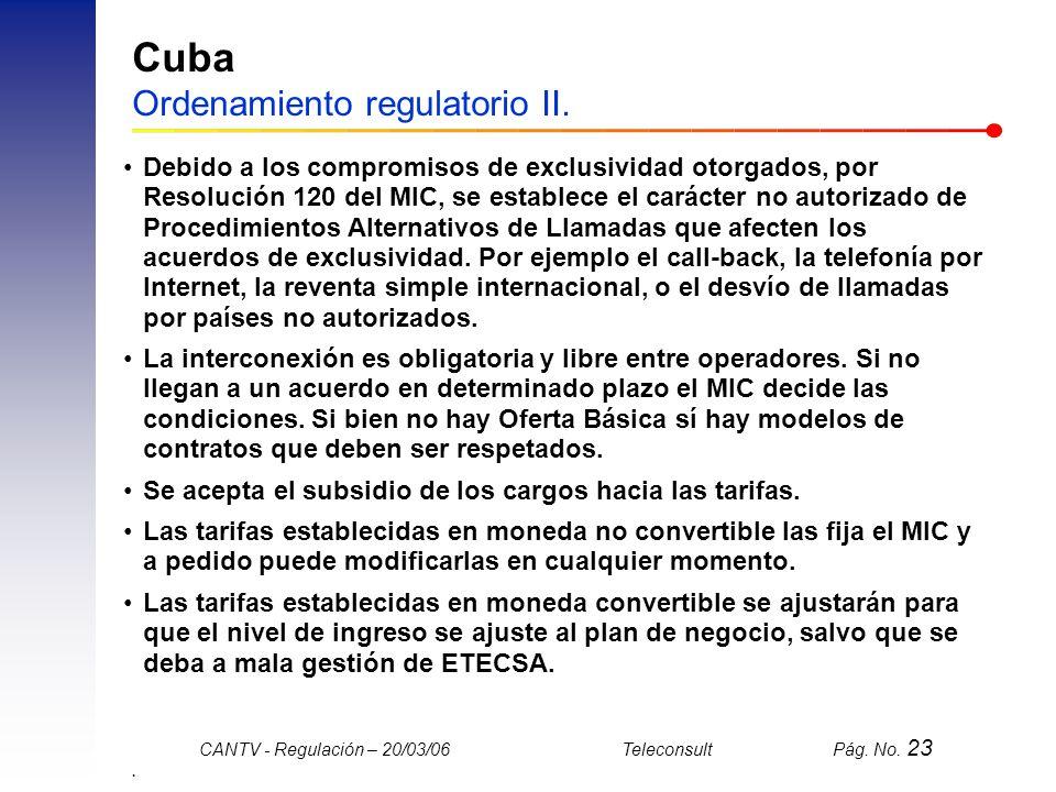 Cuba Ordenamiento regulatorio II.