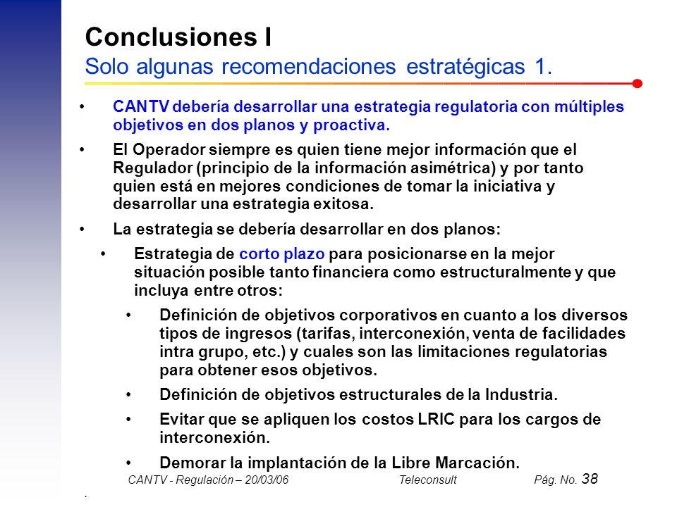 Conclusiones I Solo algunas recomendaciones estratégicas 1.