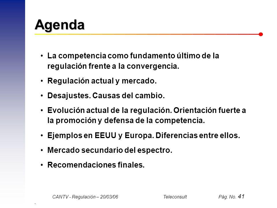 Agenda La competencia como fundamento último de la regulación frente a la convergencia. Regulación actual y mercado.