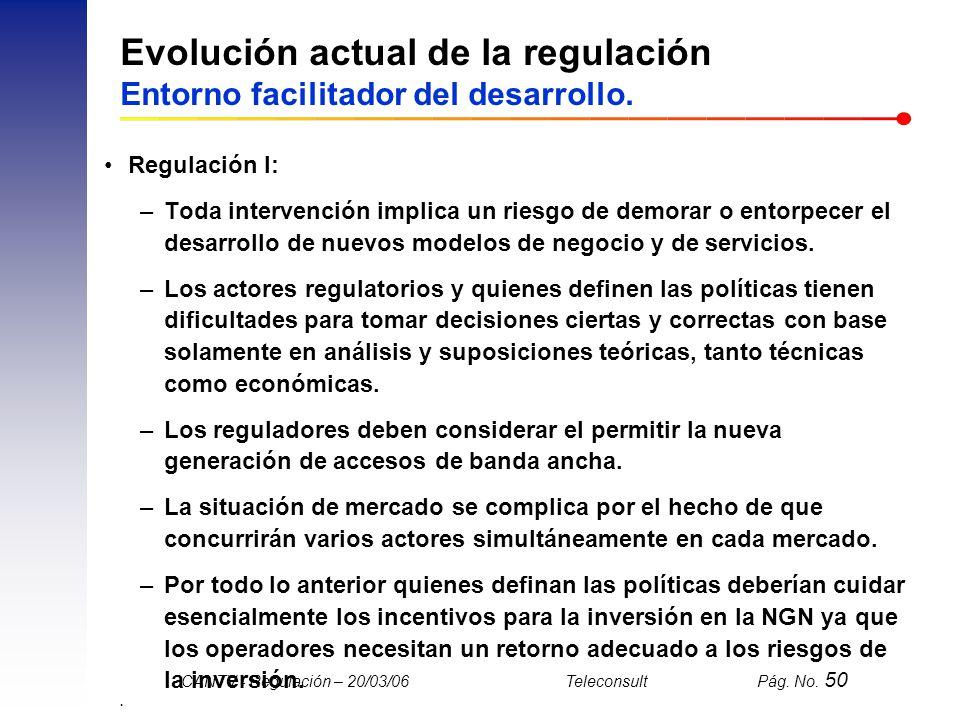 Evolución actual de la regulación Entorno facilitador del desarrollo.