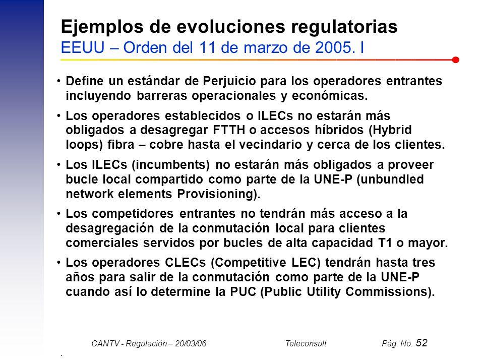 Ejemplos de evoluciones regulatorias EEUU – Orden del 11 de marzo de 2005. I