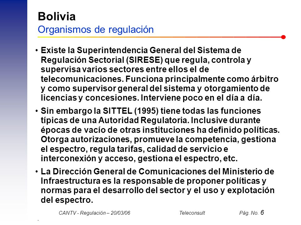 Bolivia Organismos de regulación