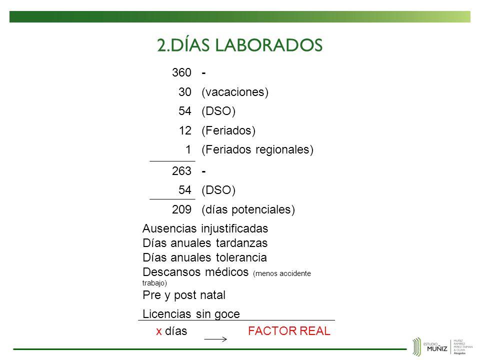 2.DÍAS LABORADOS 360 - 30 (vacaciones) 54 (DSO) 12 (Feriados) 1