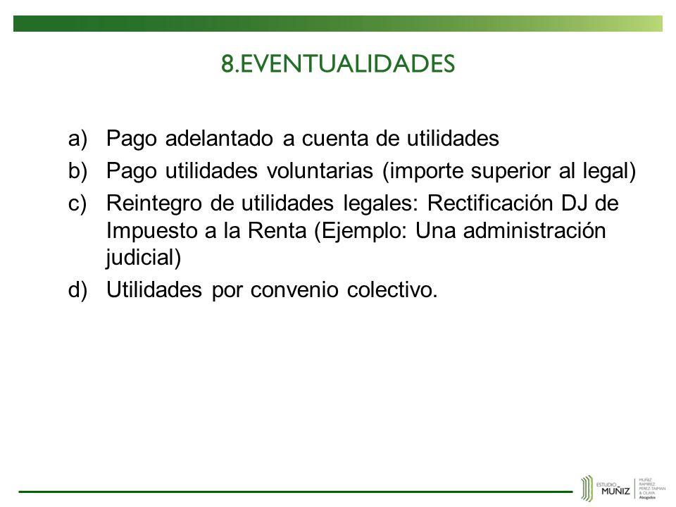 8.EVENTUALIDADES Pago adelantado a cuenta de utilidades