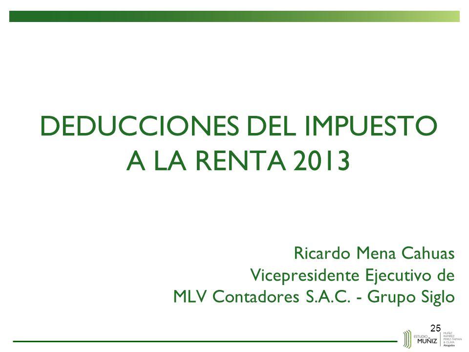 DEDUCCIONES DEL IMPUESTO A LA RENTA 2013