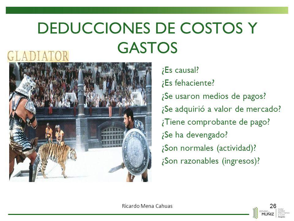DEDUCCIONES DE COSTOS Y GASTOS