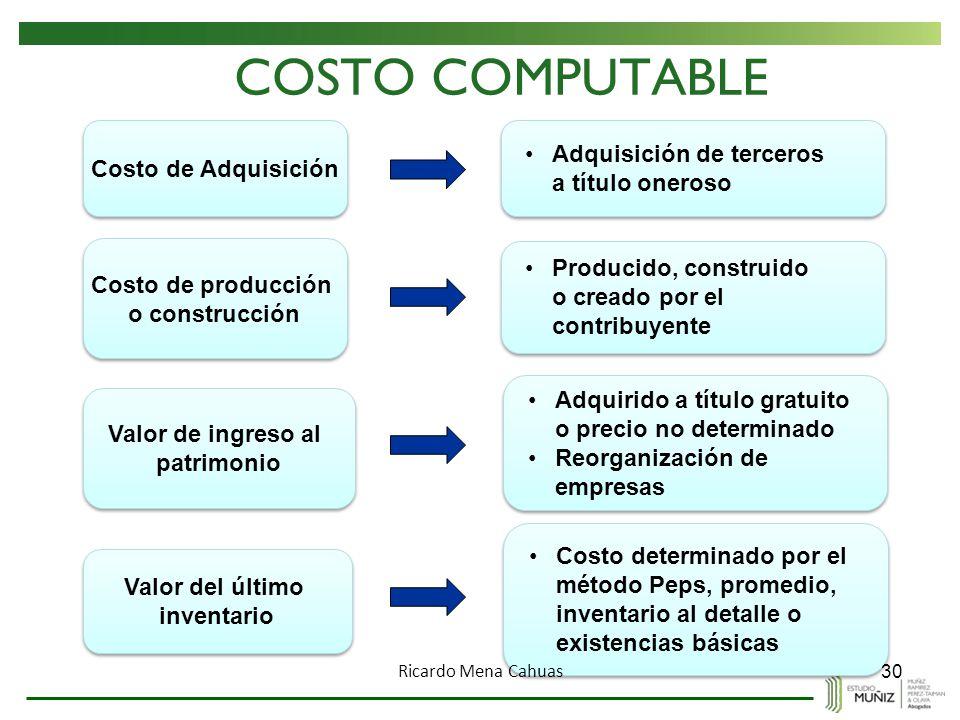COSTO COMPUTABLE Adquisición de terceros Costo de Adquisición