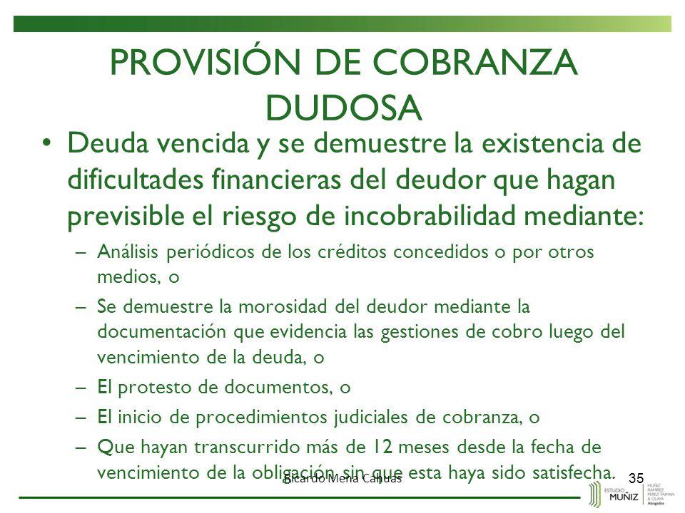 PROVISIÓN DE COBRANZA DUDOSA