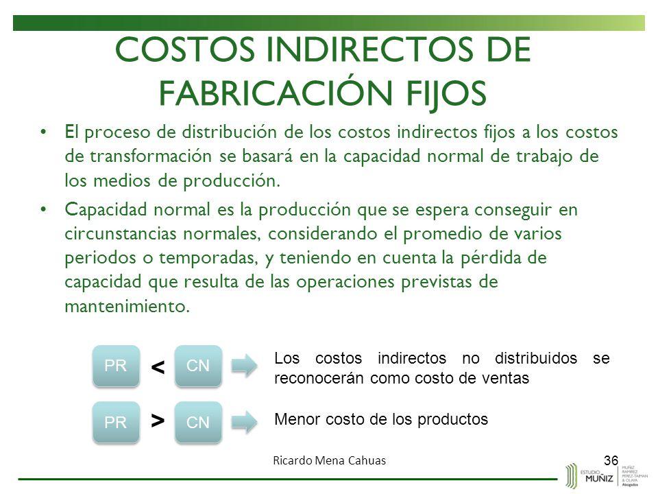 COSTOS INDIRECTOS DE FABRICACIÓN FIJOS