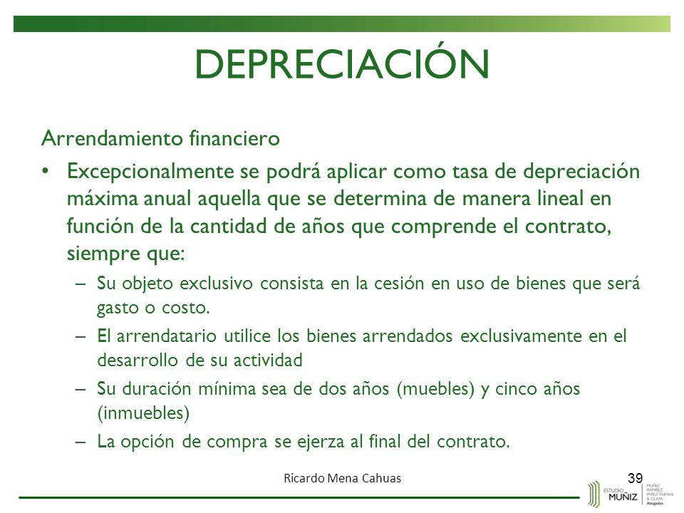 DEPRECIACIÓN Arrendamiento financiero