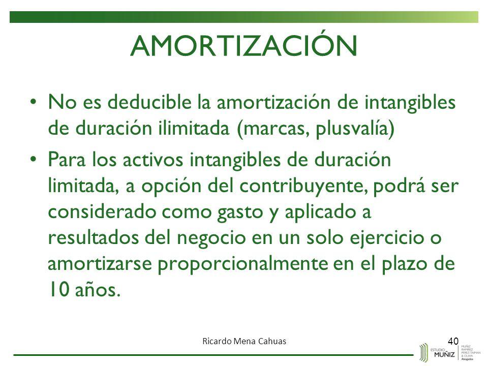 AMORTIZACIÓN No es deducible la amortización de intangibles de duración ilimitada (marcas, plusvalía)