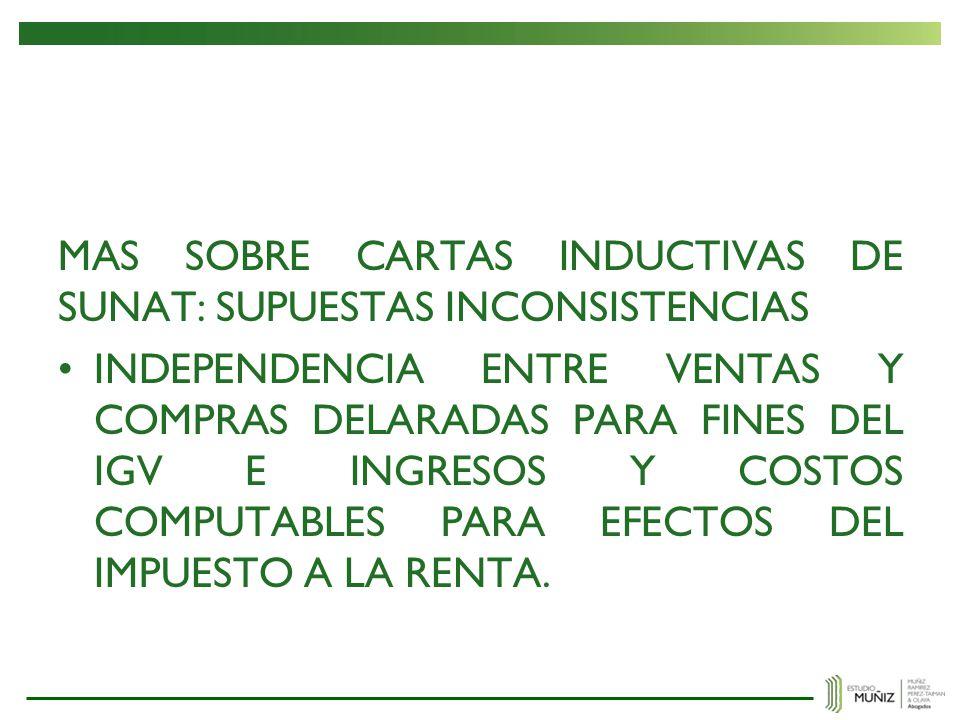 MAS SOBRE CARTAS INDUCTIVAS DE SUNAT: SUPUESTAS INCONSISTENCIAS
