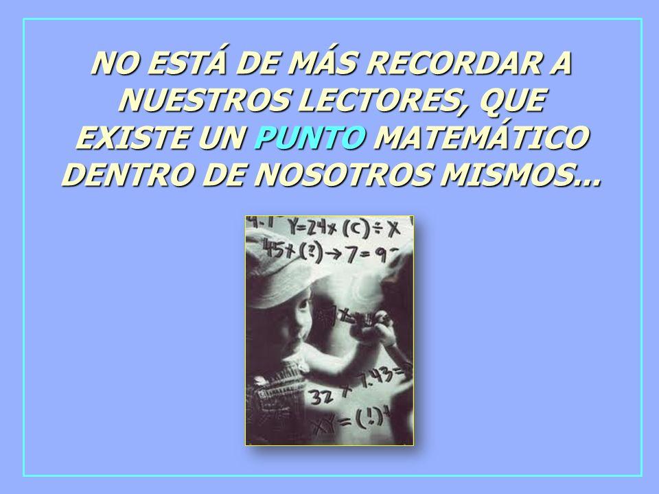 NO ESTÁ DE MÁS RECORDAR A NUESTROS LECTORES, QUE EXISTE UN PUNTO MATEMÁTICO DENTRO DE NOSOTROS MISMOS...