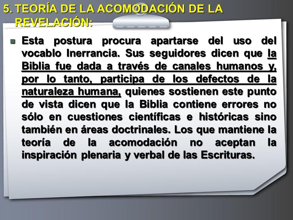 TEORÍA DE LA ACOMODACIÓN DE LA REVELACIÓN: