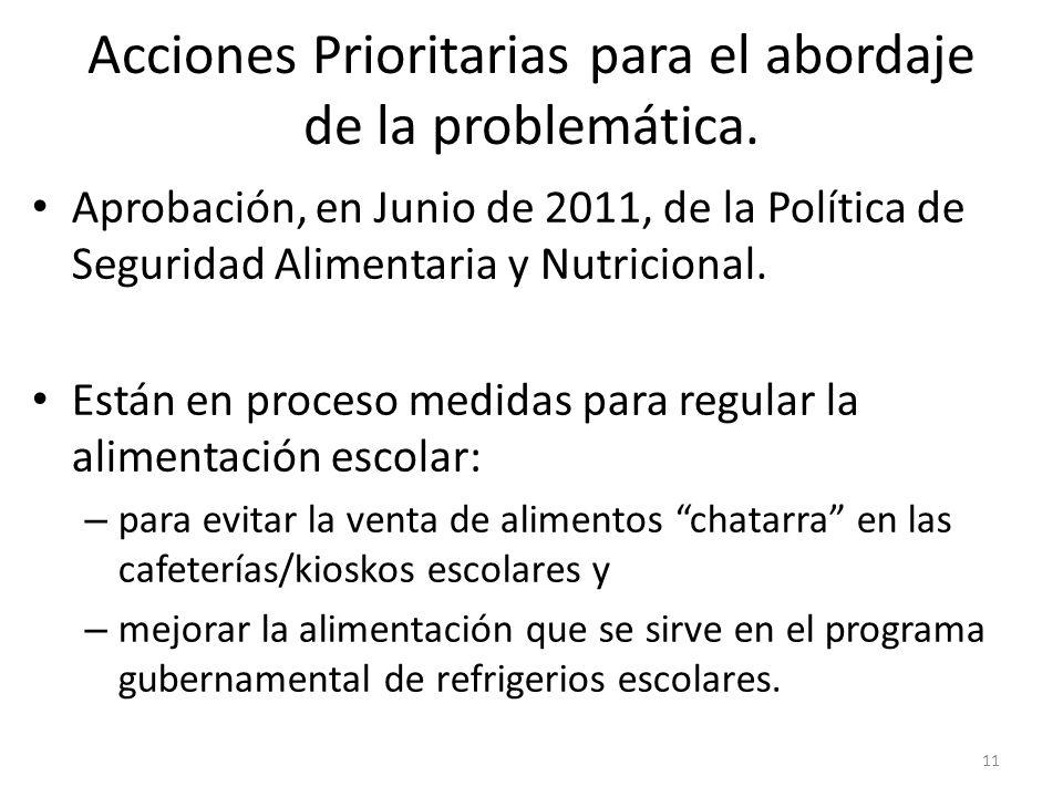 Acciones Prioritarias para el abordaje de la problemática.