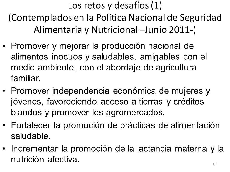 Los retos y desafíos (1) (Contemplados en la Política Nacional de Seguridad Alimentaria y Nutricional –Junio 2011-)