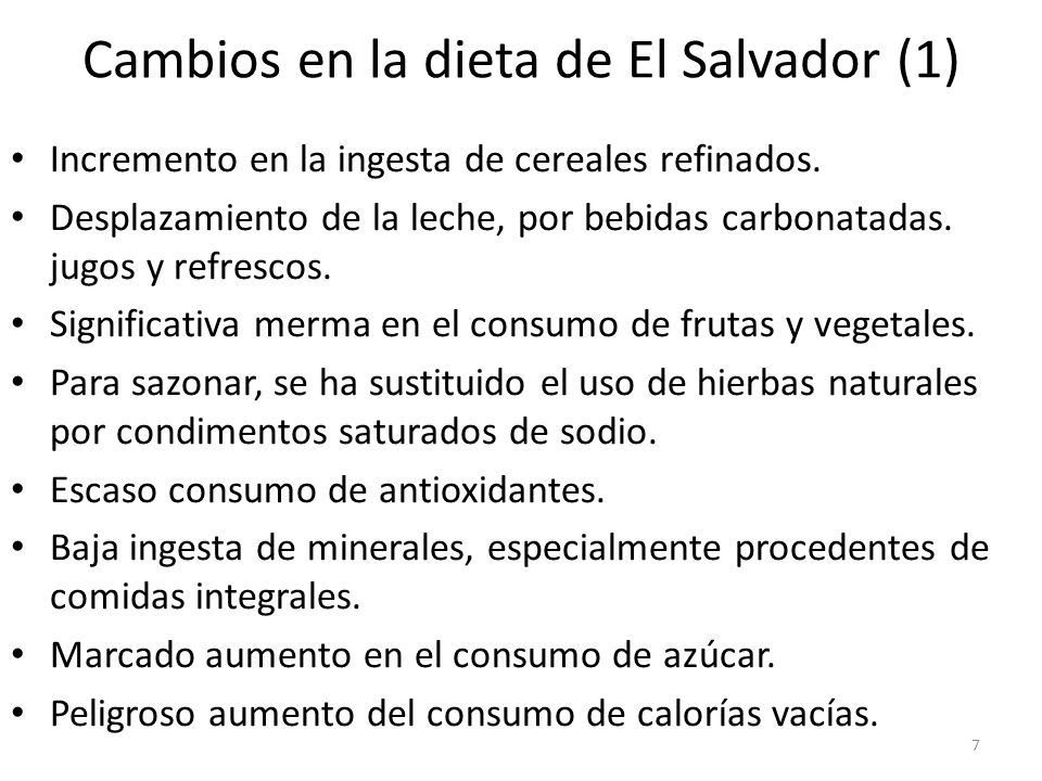 Cambios en la dieta de El Salvador (1)