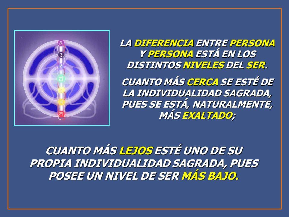 LA DIFERENCIA ENTRE PERSONA Y PERSONA ESTÁ EN LOS DISTINTOS NIVELES DEL SER.