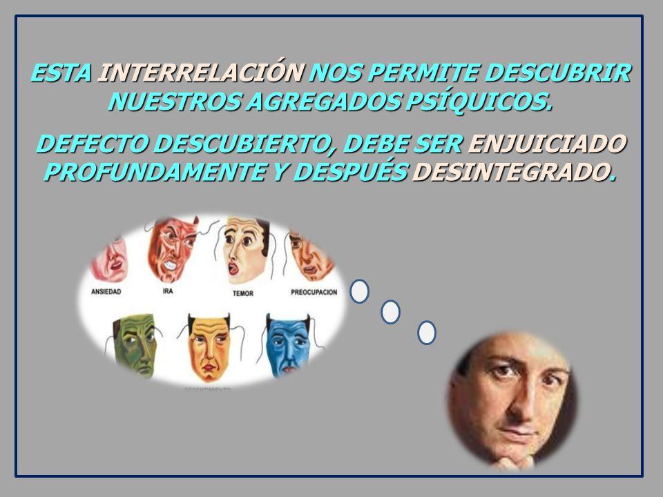 ESTA INTERRELACIÓN NOS PERMITE DESCUBRIR NUESTROS AGREGADOS PSÍQUICOS.