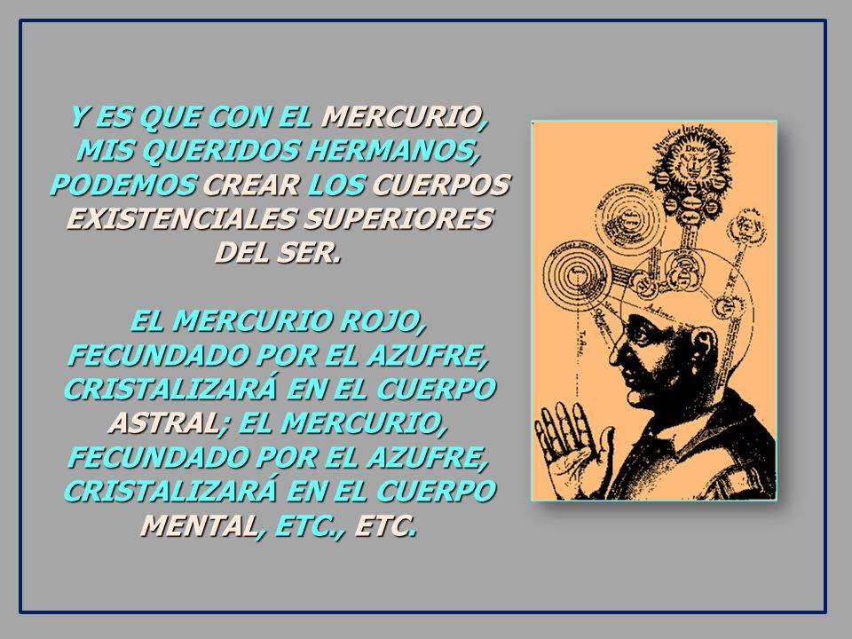 Y ES QUE CON EL MERCURIO, MIS QUERIDOS HERMANOS, PODEMOS CREAR LOS CUERPOS EXISTENCIALES SUPERIORES DEL SER.