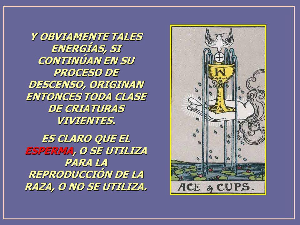 Y OBVIAMENTE TALES ENERGÍAS, SI CONTINÚAN EN SU PROCESO DE DESCENSO, ORIGINAN ENTONCES TODA CLASE DE CRIATURAS VIVIENTES.