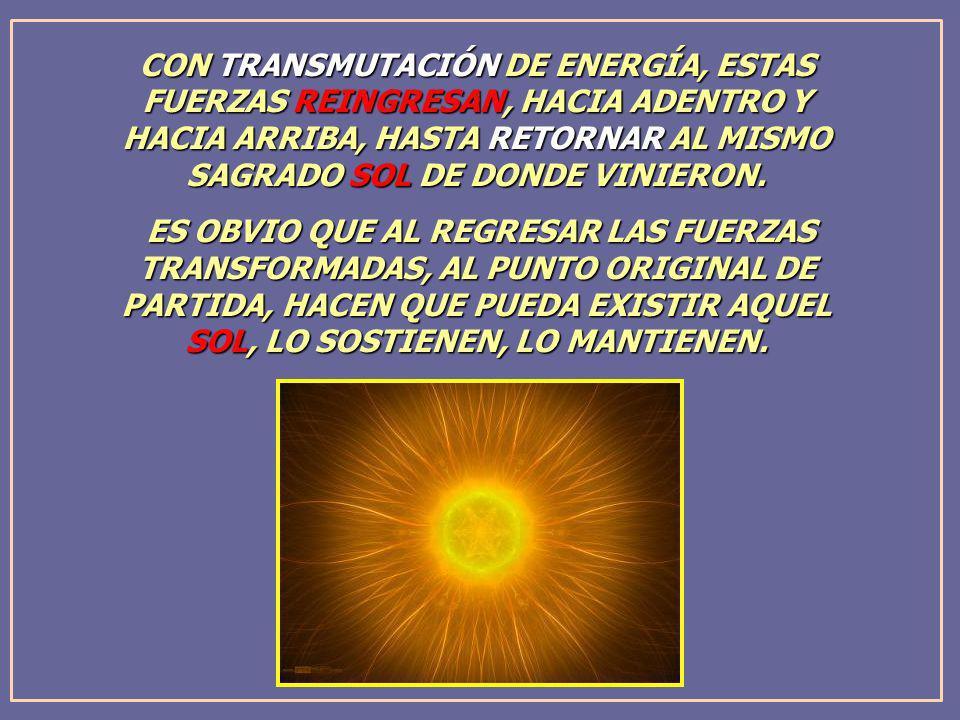 CON TRANSMUTACIÓN DE ENERGÍA, ESTAS FUERZAS REINGRESAN, HACIA ADENTRO Y HACIA ARRIBA, HASTA RETORNAR AL MISMO SAGRADO SOL DE DONDE VINIERON.