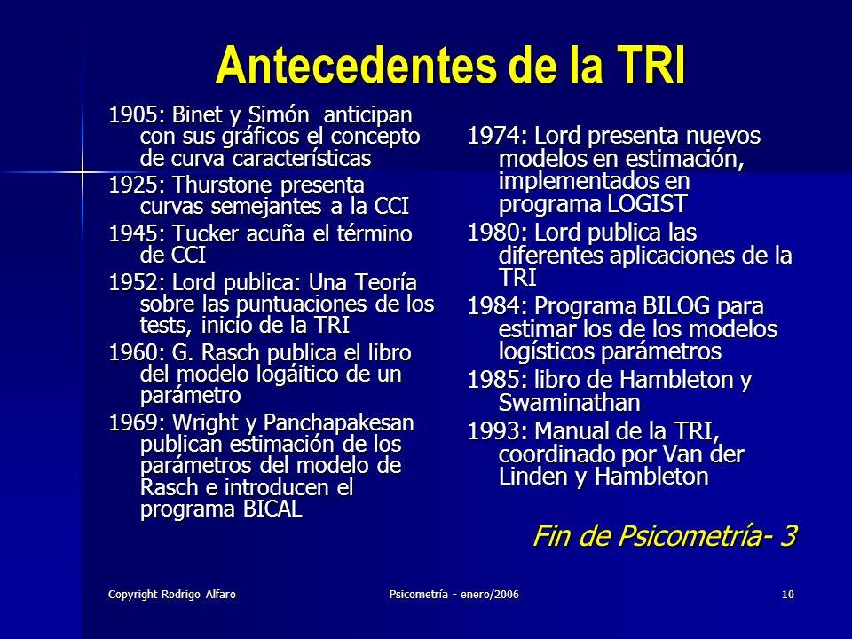 Antecedentes de la TRI Fin de Psicometría- 3