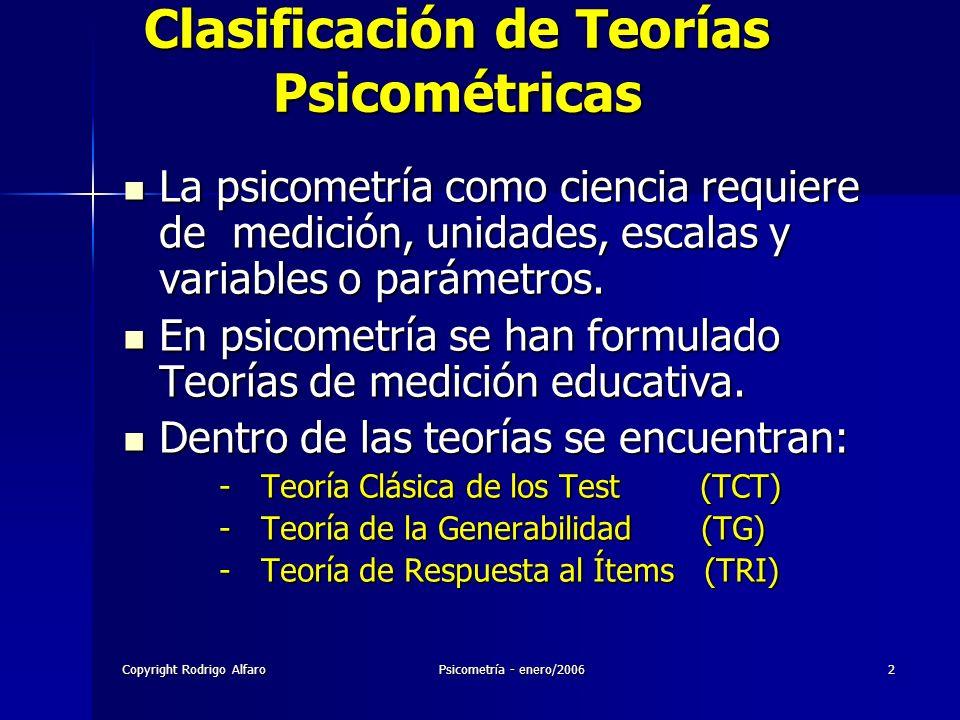 Clasificación de Teorías Psicométricas
