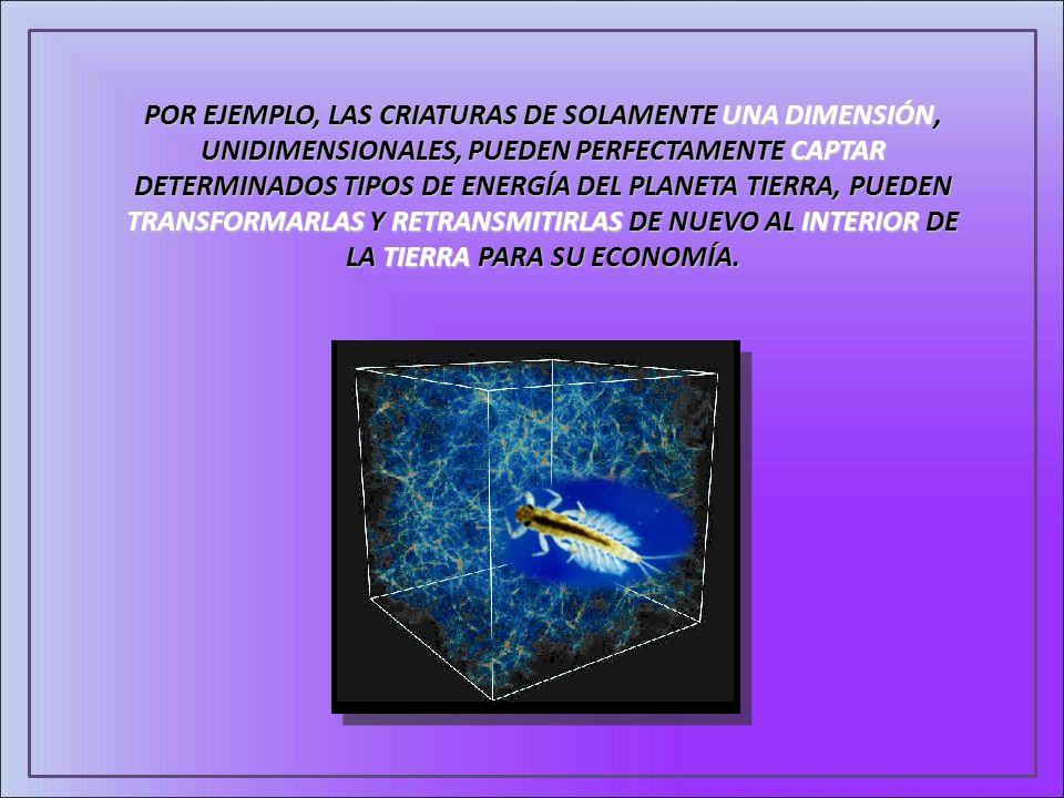 POR EJEMPLO, LAS CRIATURAS DE SOLAMENTE UNA DIMENSIÓN, UNIDIMENSIONALES, PUEDEN PERFECTAMENTE CAPTAR DETERMINADOS TIPOS DE ENERGÍA DEL PLANETA TIERRA, PUEDEN TRANSFORMARLAS Y RETRANSMITIRLAS DE NUEVO AL INTERIOR DE LA TIERRA PARA SU ECONOMÍA.