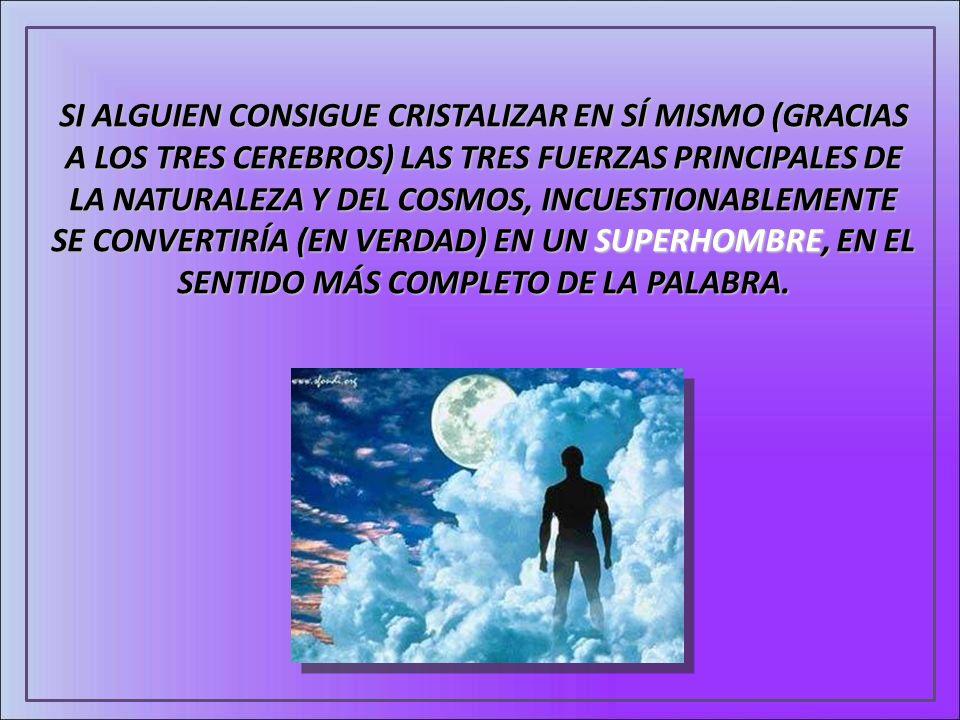 SI ALGUIEN CONSIGUE CRISTALIZAR EN SÍ MISMO (GRACIAS A LOS TRES CEREBROS) LAS TRES FUERZAS PRINCIPALES DE LA NATURALEZA Y DEL COSMOS, INCUESTIONABLEMENTE SE CONVERTIRÍA (EN VERDAD) EN UN SUPERHOMBRE, EN EL SENTIDO MÁS COMPLETO DE LA PALABRA.