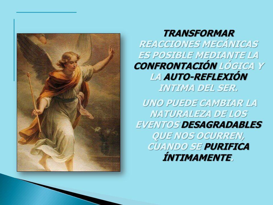 TRANSFORMAR REACCIONES MECÁNICAS ES POSIBLE MEDIANTE LA CONFRONTACIÓN LÓGICA Y LA AUTO-REFLEXIÓN INTIMA DEL SER.