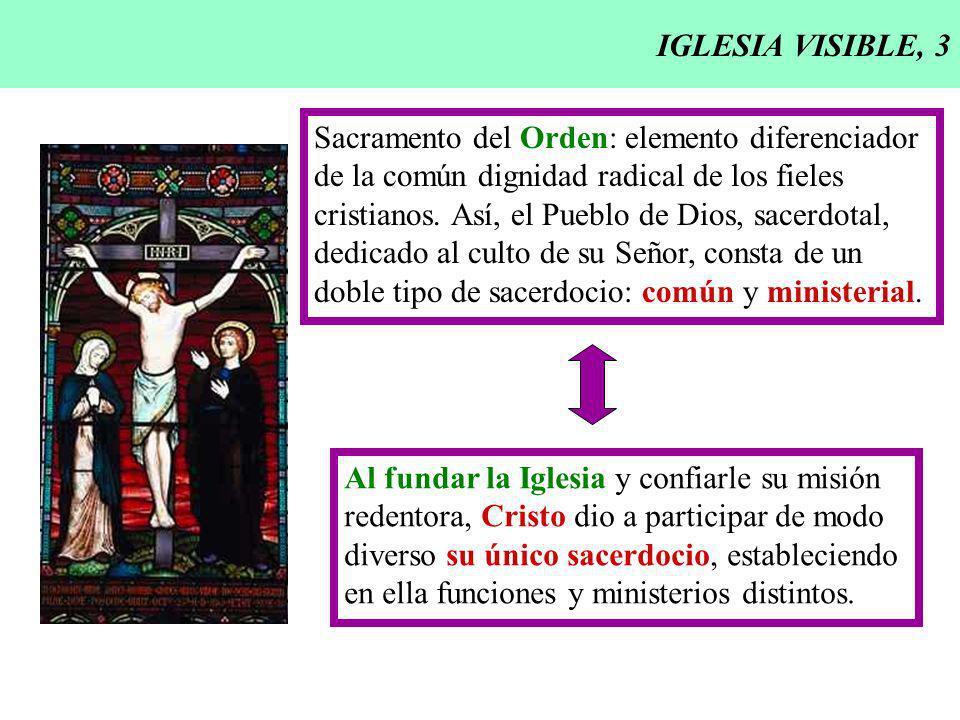 IGLESIA VISIBLE, 3 Sacramento del Orden: elemento diferenciador. de la común dignidad radical de los fieles.