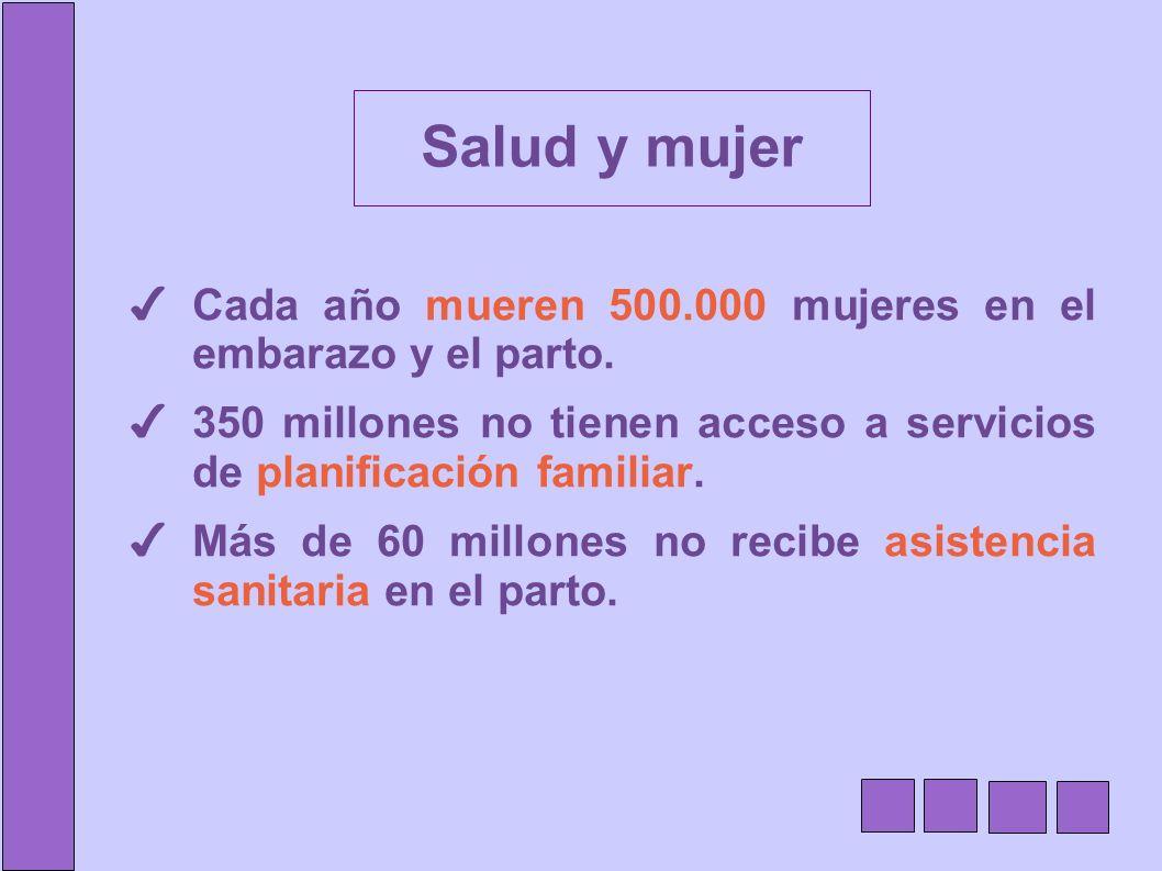 Salud y mujer Cada año mueren 500.000 mujeres en el embarazo y el parto. 350 millones no tienen acceso a servicios de planificación familiar.