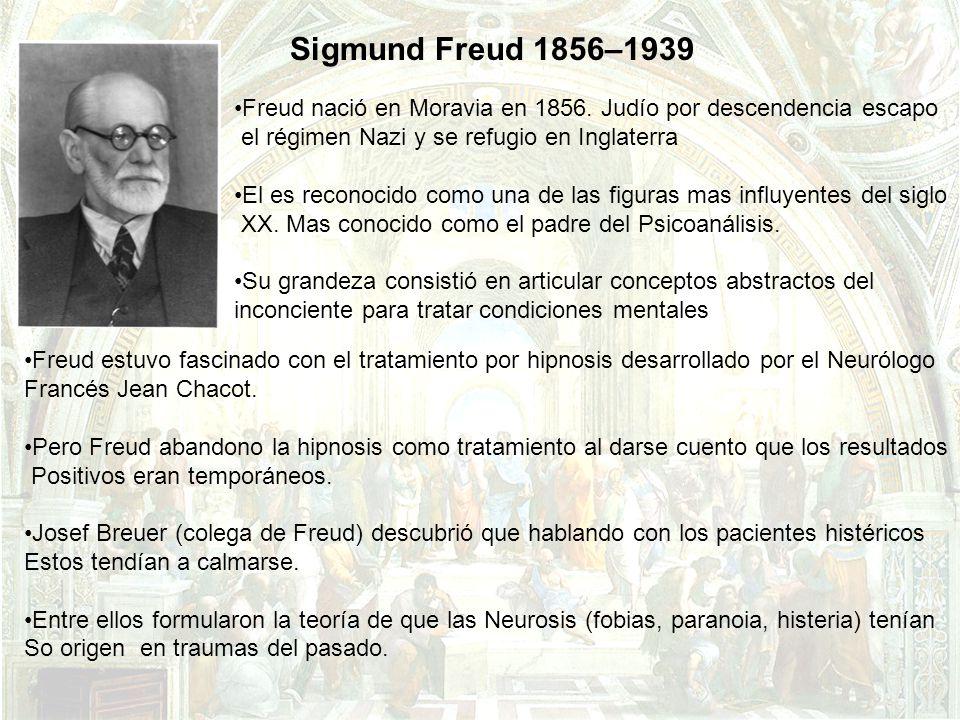 Sigmund Freud 1856–1939 Freud nació en Moravia en 1856. Judío por descendencia escapo. el régimen Nazi y se refugio en Inglaterra.