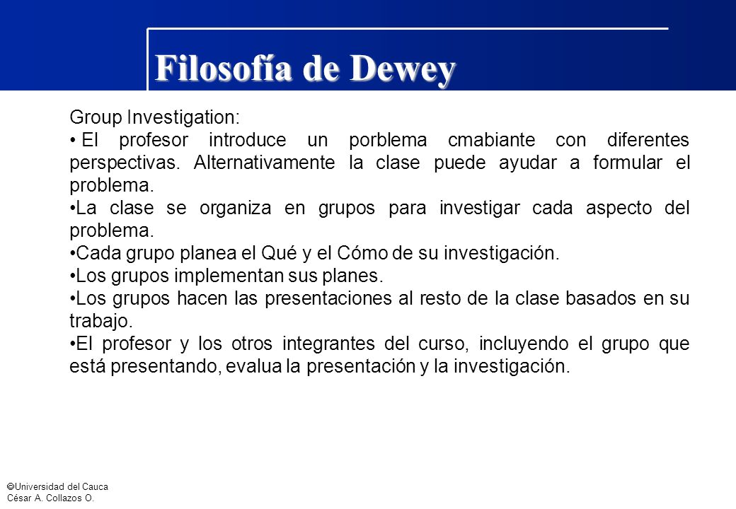 Filosofía de Dewey Group Investigation: