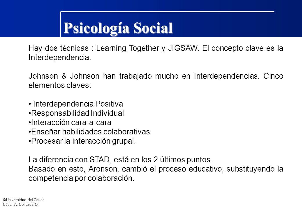 Psicología Social Hay dos técnicas : Learning Together y JIGSAW. El concepto clave es la Interdependencia.