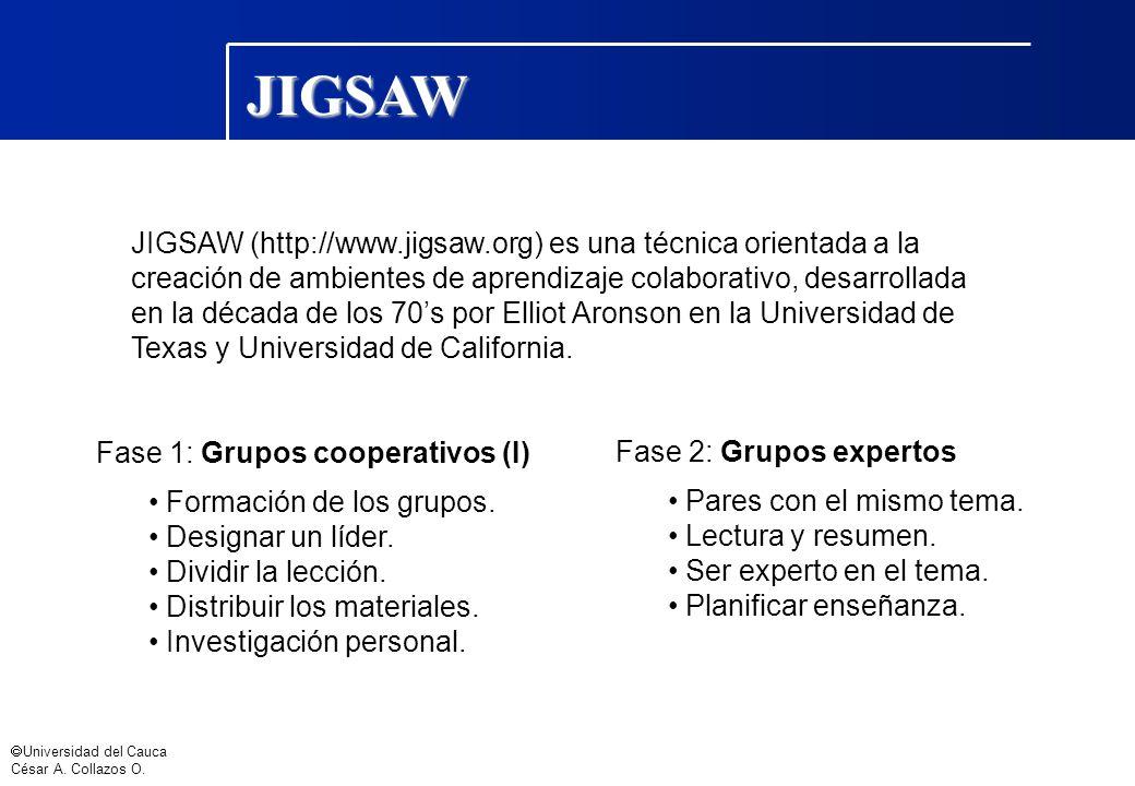 JIGSAW JIGSAW (http://www.jigsaw.org) es una técnica orientada a la
